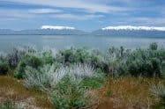 View of Lakeside Mountains from Antelope Island Utah