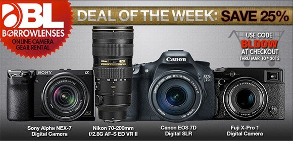 Borrowlenses Deal of the Week Rental Promotion
