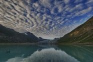 Reid Glacier - Glacier Bay Alaska at Dawn photographed by Jeff Wendorff