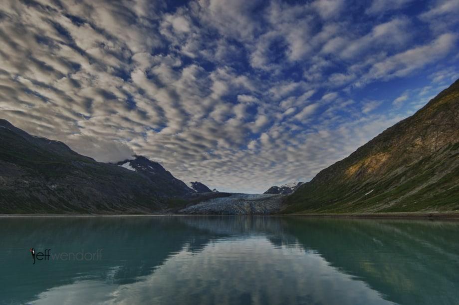 Reid Glacier - Glacier Bay Alaska at Dawn photographed by Jeff Wendorff