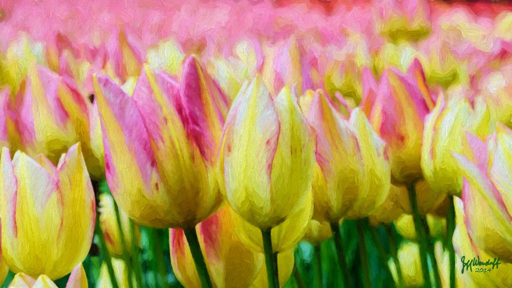 Keukenhoff Tulips painted using Topaz Impression - Oil Painting by Jim Lasala by Jeff Wendorff