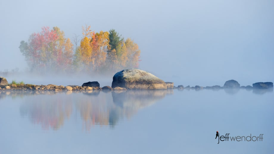 Fall colors in the fog - Chittendon Reservoir photographed by Jeff Wendorff