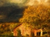 Stormy Weather Vermont Farm painted with Topaz Impression - Georgia O'Keefe II