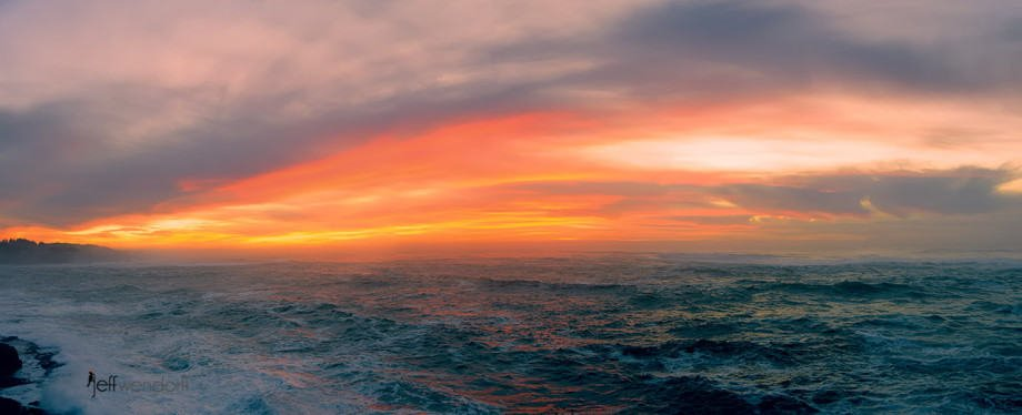 Panoramic view of sunset at Depoe Bay on the Oregon Coast by Jeff Wendorff