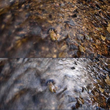 stream with and without circular polarizer